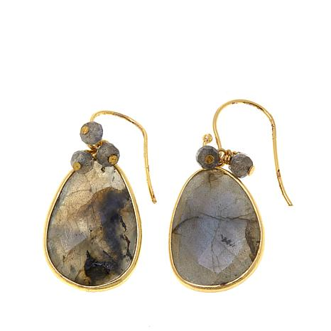 Argento Vivo Labradorite Gold Plated Drop Earrings