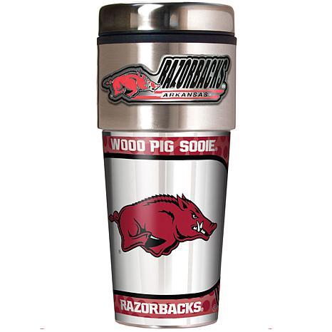 Arkansas Razorbacks Travel Tumbler w/ Metallic Graphics and Team Logo