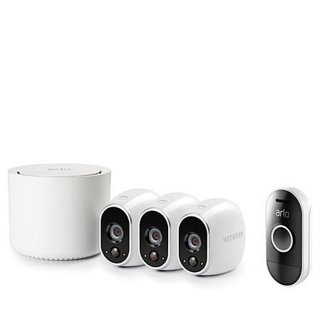 Arlo 3-Camera Wireless Indoor/Outdoor Security System & Audio Doorbell