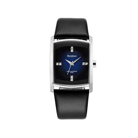 Armitron Men's Blue Dial Black Leather Strap Watch