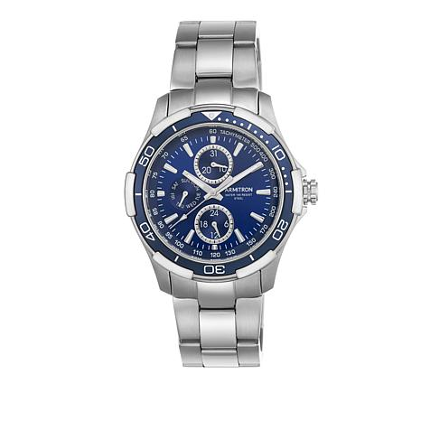 Armitron Men's Blue Dial Stainless Steel Day Date Watch