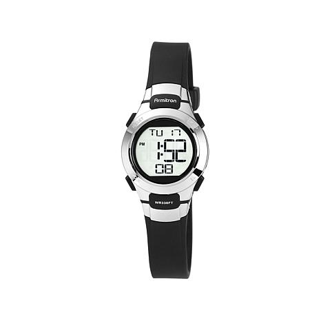 Armitron Women's Silvertone Black Strap Digital Watch