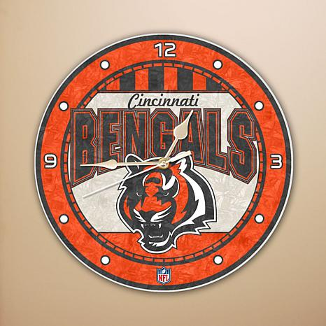 Art Glass Wall Clock - Cincinnati Bengals