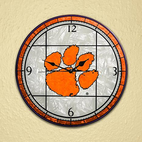Art Glass Wall Clock - Clemson University