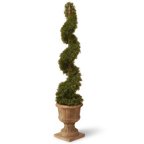 "Artificial Topiary Tree 48"" Cedar Spiral in Urn"