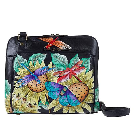 """""""As Is"""" Anuschka Hand-Painted Leather Crossbody Organizer"""
