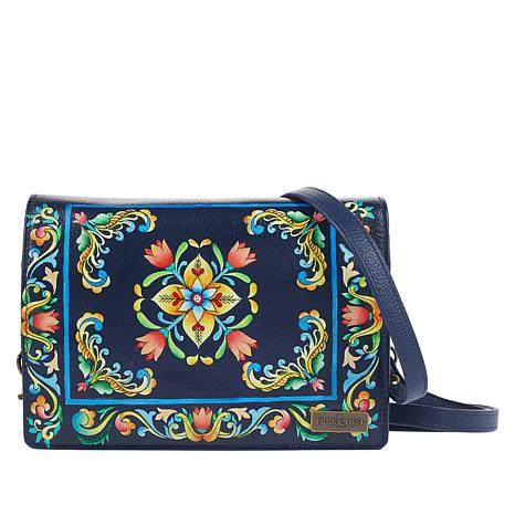 """""""As Is"""" Anuschka Hand-Painted Leather Crossbody Wallet"""