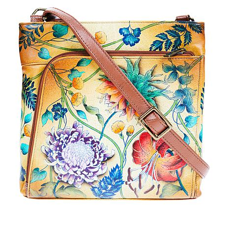 """""""As Is"""" Anuschka Hand Painted Leather Organizer Crossbody"""