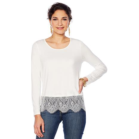 """""""As Is"""" Colleen Lopez Long-Sleeve Jersey Top with Lace Sweep"""