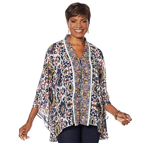 """""""As Is"""" Colleen Lopez Printed Button-Front Topper"""