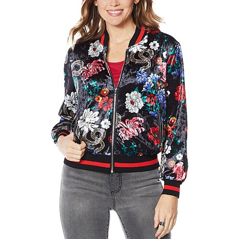 """As Is"" Colleen Lopez Printed Velvet Bomber Jacket"
