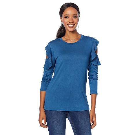 """""""As Is"""" DG2 by Diane Gilman Cold-Shoulder Ruffle Top"""