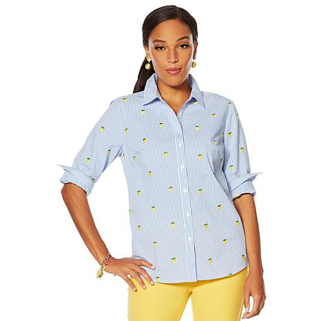"""As Is"" Lemon Way 365 Poplin Stretch Embroidered Button-Down Shirt"