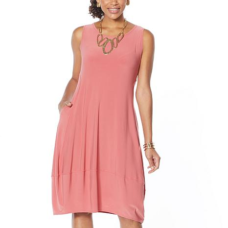 """As Is"" MarlaWynne Matte Jersey Sleeveless Dress with Pockets"