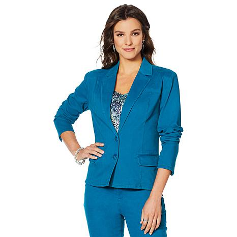 """""""As Is"""" Motto Button-Front Stretch Sateen Blazer"""