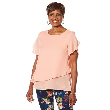 """As Is"" Nina Leonard Chiffon Angled Popover Top"
