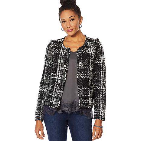 """As Is"" Vanessa Williams Open-Front Tweed Jacket with Pockets"
