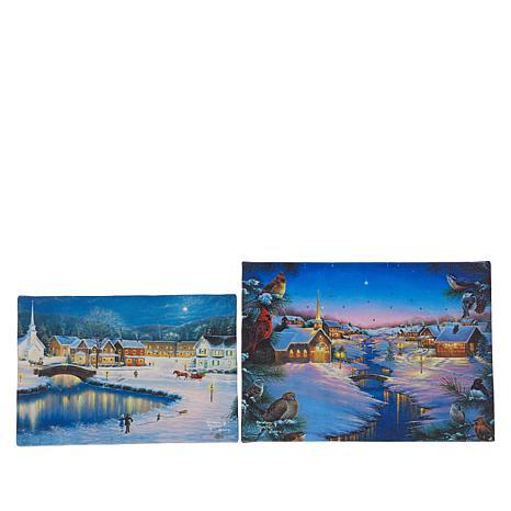 """As Is"" Winter Lane Set of 2 Winter's Eve Mini Fiber-Optic Canvas Set"