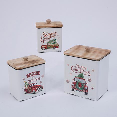 Assorted Set of 3 Metal and Wood Nesting Holiday Truck Containers