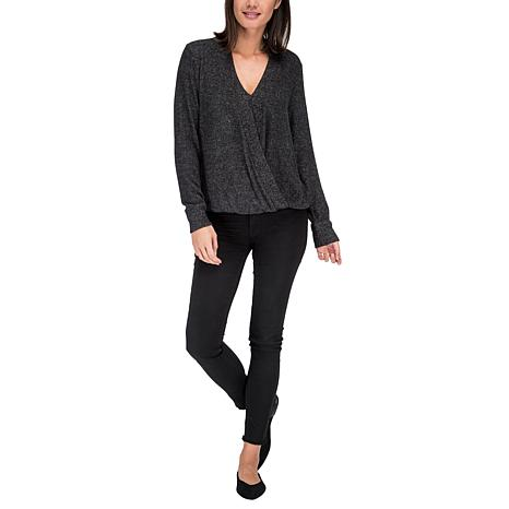 B Collection by Bobeau Brushed Knit Faux Wrap Top
