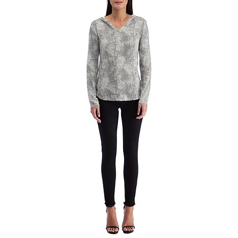 B Collection by Bobeau Brushed Knit Printed Hoodie