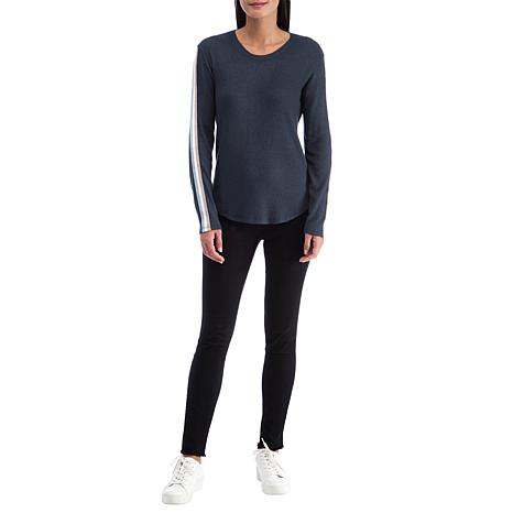B Collection by Bobeau Brushed Knit Racer Stripe Top