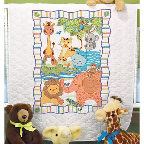 Dimensions/Baby Hugs Quilt Stamped Cross Stitch Kit 34X43 - Mod Zoo
