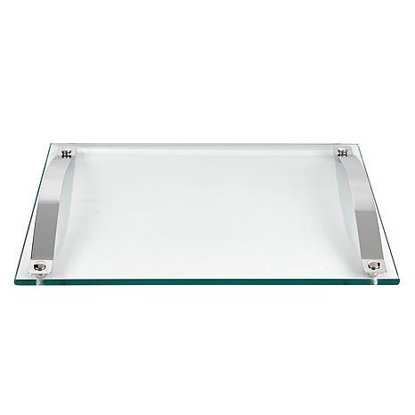 Badash Contemporary Thick Glass Serving Tray with Chrome Handles