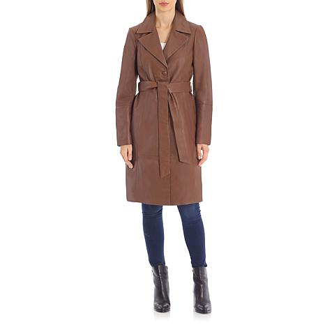 Badgley Mischka Single-Breasted Belted Lamb Leather Trenchcoat