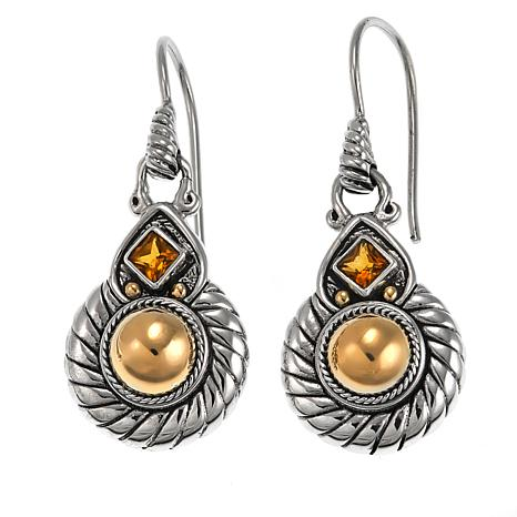 Bali Designs 0.24ctw Citrine Cable-Twist 2-Tone Earrings