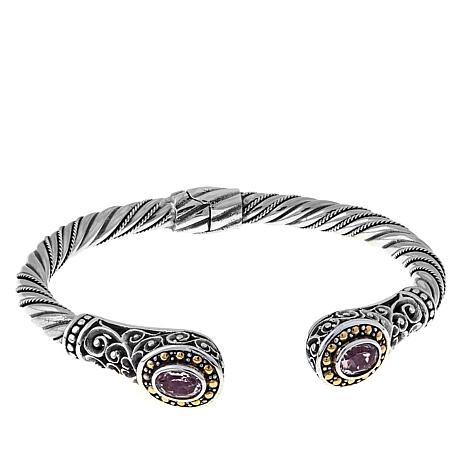 Bali Designs 1.16ctw Morganite Scroll Cable 2-Tone Cuff