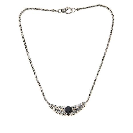 """Bali Designs 18"""" Sterling Silver and 18K Gemstone Scrollwork Necklace"""
