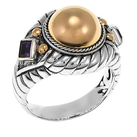 Bali Designs 2-Tone 0.22ctw Amethyst Cable-Twist Ring