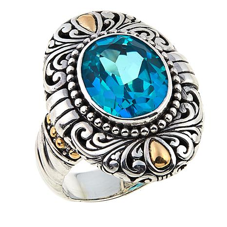 Bali Designs 2.02ct Paraiba-Color Quartz Scrollwork Ring