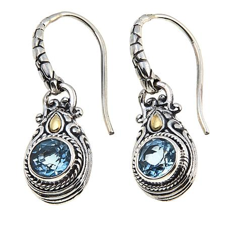 Bali Designs 2.16ctw  Round Blue Topaz Drop Earrings