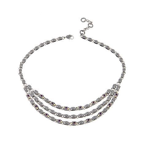 Bali Designs 2.1ctw Rhodolite Layered Necklace