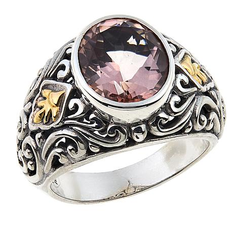 Bali Designs 3.35ct Morganite-Color Quartz Scrollwork Ring