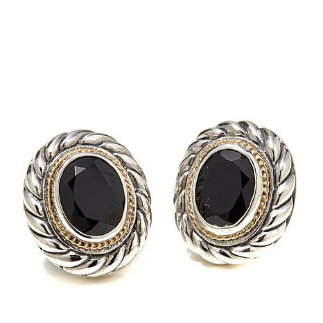 Bali Designs 5.2ctw Black Spinel 2-Tone Stud Earrings