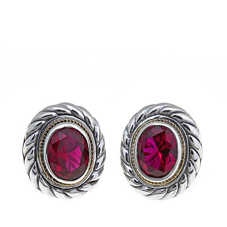 Bali Designs 5ctw Oval Created Ruby Earrings