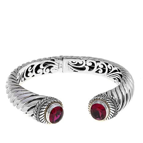 Bali Designs 6.4ctw Oval Created Ruby 2-Tone Cuff