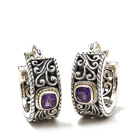 Bali Designs Amethyst Small Scroll Hoop Earrings