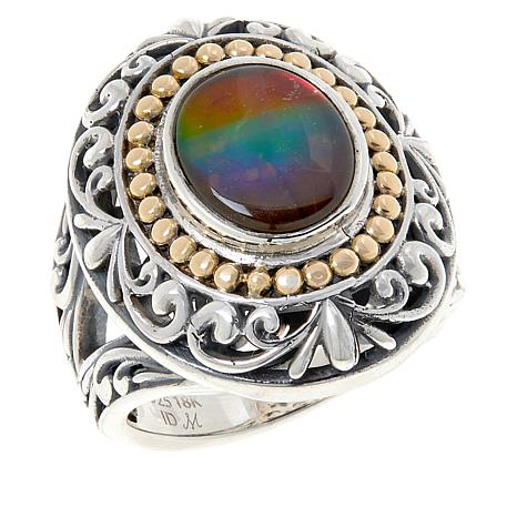 Bali Designs Ammolite Quartz Triplet Scroll Ring