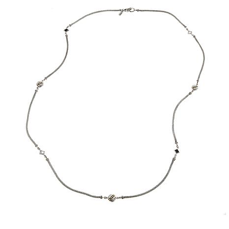 """Bali Designs Black Spinel and White Topaz 40"""" Necklace"""