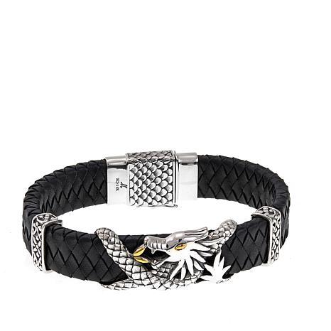"Bali Designs ""BroManse"" Dragon and Black Leather Bracelet"