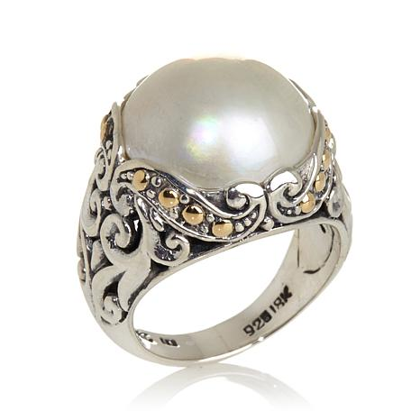 Bali Designs Cultured Mabé Pearl Silver/18K Gold Ring