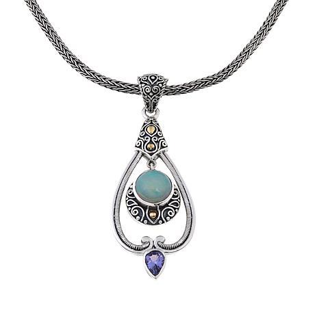 Bali Designs Ethiopian Opal & Tanzanite Scroll Pendant