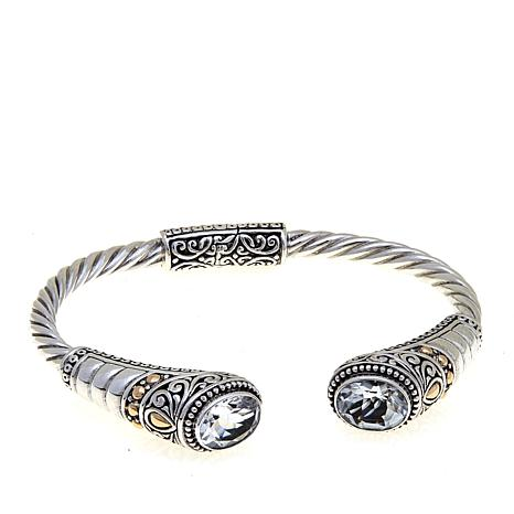 "Bali Designs ""Jalan Indah"" Oval White Topaz Cuff Bracelet"