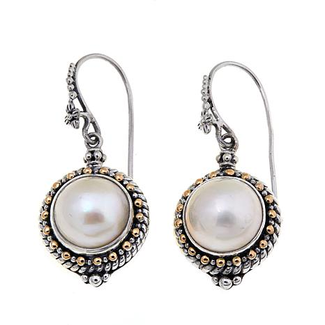 Bali Designs Mabé Pearl Bead Detail 2-Tone Earrings
