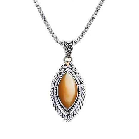 Bali Designs Marquise Golden Mother-of-Pearl  Pendant