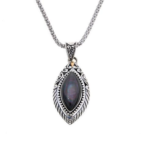 """Bali Designs Marquise Peacock Mother-of-Pearl Pendant with 18"""" Chain"""